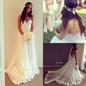 Strapless Sweetheart Lace Embellished A Line Wedding Dress With Train
