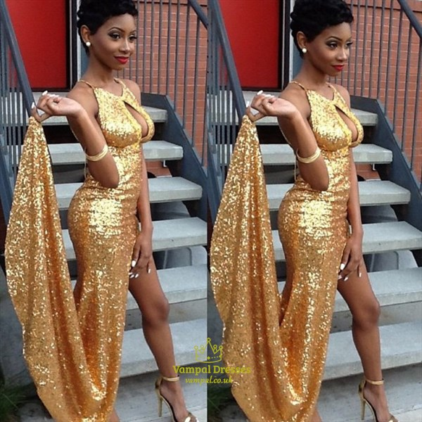 Gold Sequin Keyhole Front Long Prom Dresses With Side Slits
