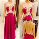 Hot Pink Long Cap Sleeve Lace Applique Sheer Back Formal Dress