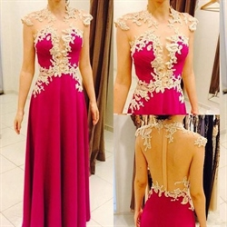 Hot Pink Long Cap Sleeve Lace Applique Sheer Back Formal Dress