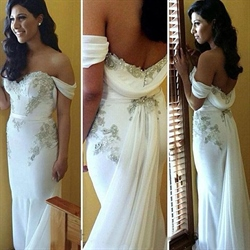 Ivory Off The Shoulder Sheath Beaded Wedding Dress With Long Train