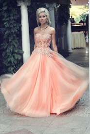 Coral Strapless Lace Embellished Corset Floor Length Wedding Dress