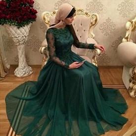 Emerald Green Long Sleeve Lace Bodice A Line Chiffon Wedding Dress