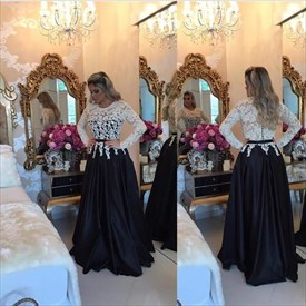 Two Tone Lace Bodice Sheer Long Sleeve Floor Length Formal Dress