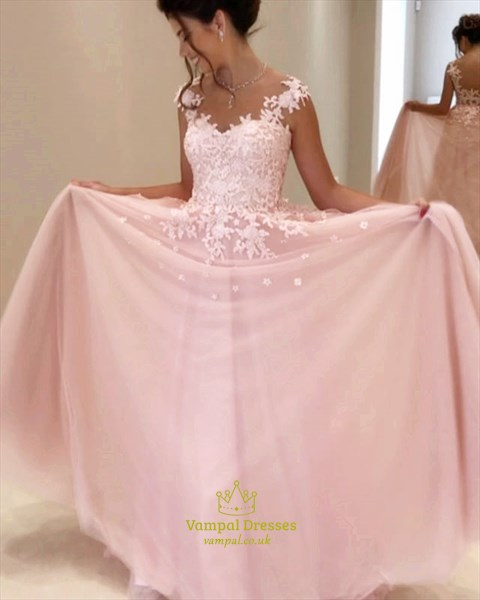 Blush Pink Lace Embellished Ball Gown Wedding Dress With Cap Sleeves