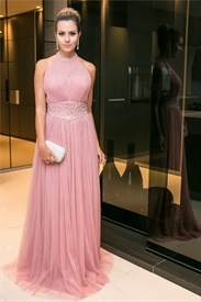 Pink Beaded Halter High Neck Chiffon A Line Prom Dress Long
