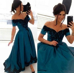 Teal Vintage Lace Embellished Tea Length Ball Gown Wedding Dress
