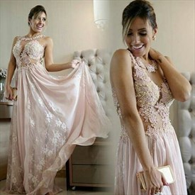 Blush Pink Sheer Illusion Beaded Lace Applique Long Chiffon Prom Dress