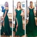 Emerald Green Beaded Off The Shoulder Ruched Side Slit Prom Dress