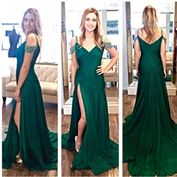 Emerald Green Beaded Off The Shoulder Ruched Side Slit Prom Dress