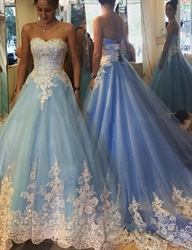 Blue Strapless Sweetheart Lace Embellished Ball Gown Wedding Dress
