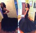 Black Sequin Embellished Top Mermaid Tulle Wedding Dress