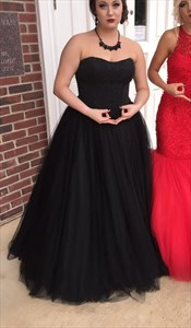 Black Strapless Beaded Bodice Ball Gown Wedding Dress