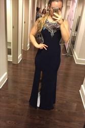Black Beaded Sheer Sheath Long Prom Dress With Side Cutouts