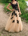 Champagne Sheer Lace Applique Tulle Floor Length Wedding Dress