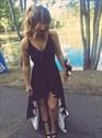 Black Simple V Neck Spaghetti Strap High-Low Bridesmaid Dress