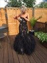 Black Strapless Embellished Lace Top Tulle Mermaid Wedding Dress