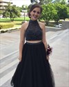 Black High Neck Two Piece Beaded Backless Ball Gown Wedding Dress
