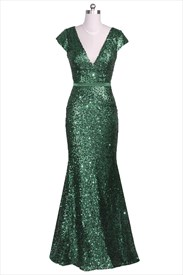 Emerald Green Cap Sleeve V-Neck Sequin Long Formal Dress