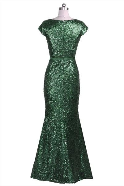 Emerald Green Cap Sleeve V-Neck Sequin Long Formal Dress