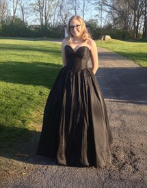 Black Simple Strapless Sweetheart Ball Gown Prom Dress