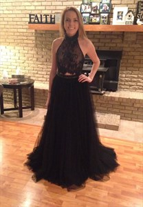 Black High Neck Long Backless Lace Top Fitted Prom Dresses