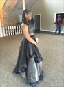 Black Two Piece Embellished Top Tulle Ball Gown Prom Dresses