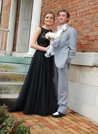 Black Lace Bodice Chiffon Skirt Bridesmaid Dress With Open Back