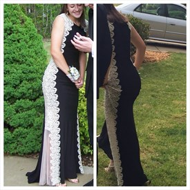 Black Lace Embellished Sleeveless Chiffon Sheath Long Formal Dress