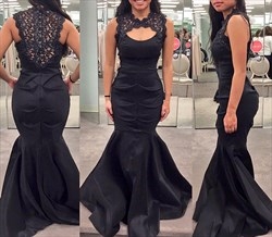 Black Lace Illusion Neckline Ruched Mermaid Long Evening Dress