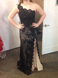 Black One Shoulder Lace Long Bridesmaid Dress With Side Split