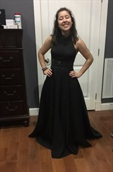 Black Beaded Backless Long High Neck Ball Gown Prom Dress