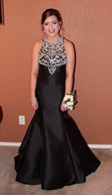 Black Embellished Top Sleeveless Mermaid Long Evening Dress