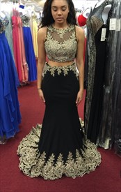 Black Sheer Lace Two Piece Two Piece Sheath Long Prom Dress