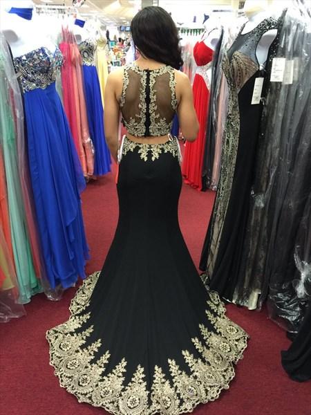 Black Sheer Lace Two Piece Two Piece Sheath Long Prom Dress