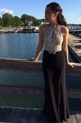 Black Halter Beaded Illusion Bodice Long Chiffon Evening Gown