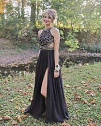 Black Halter Neck Beaded Long Prom Dress With Side Cutouts