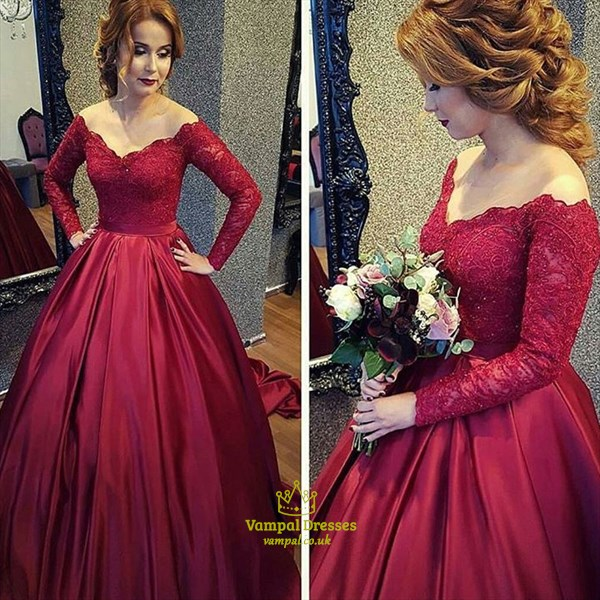 Red V Neck Long Sleeve Lace Bodice Ball Gown Prom Dress