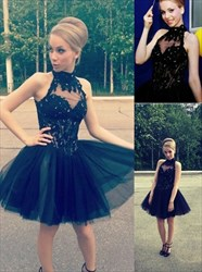 Black High Neck Illusion Embellished Tulle Homecoming Dresses
