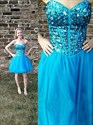 Aqua Blue Short Strapless Sweetheart Beaded Corset Party Dress
