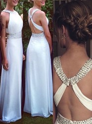 White Halter Open Back Sleeveless Beaded Long Chiffon Prom Gown