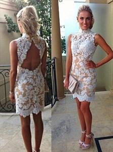 Peach High Neck Short Lace Sheath Prom Dress With Keyhole Back