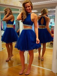 Royal Blue Beaded High Neck Two Piece Tulle Short Homecoming Dress