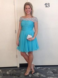 Aqua Blue Beaded Off The Shoulder Ruched Short Bridesmaid Dress