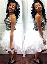 Strapless Sweetheart Beaded Bodice Tulle Short Homecoming Dress