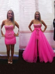 Hot Pink Strapless Beaded Prom Dresses With Detachable Skirts
