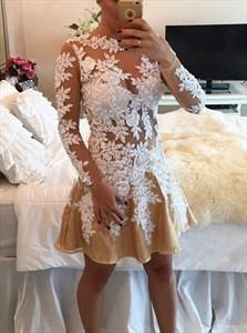 Peach Sheer Lace Applique Long Sleeve Knee Length Cocktail Dress