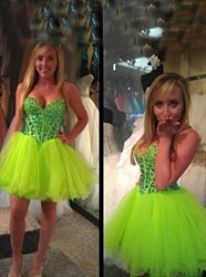 Short Strapless Sweetheart Beaded Bodice Tulle Homecoming Dress
