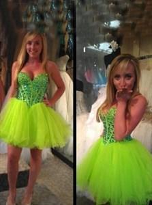 Short Strapless Sweetheart Beaded Bodice Tulle Homecoming Dress