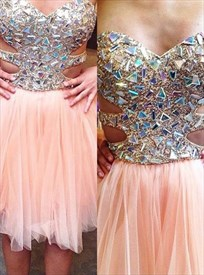 Peach Sweetheart Short Beaded Bodice Prom Dress With Cutout Sides